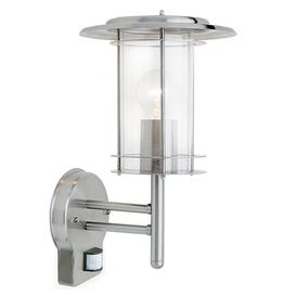 image-Outdoor Wall Light with PIR Sensor, Steel Finish, IP44 Rated against water & dust. York range.