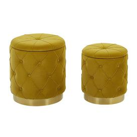 image-Bridgewater 2 Piece Dressing Table Stool Set Canora Grey Seat Colour: Mustard Yellow