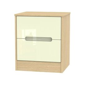 image-Monaco High Gloss Cream and Light Oak Bedside Cabinet - 2 Drawer Locker