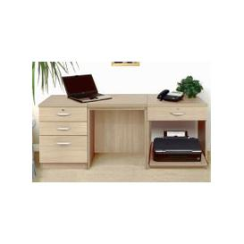 image-Small Office Desk Set With 3+1 Drawers & Printer Shelf (Sandstone)