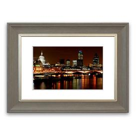 image-'London Thames Night Lights ' Framed Photograph East Urban Home Size: 30 cm H x 40 cm W, Frame Options: Grey
