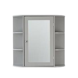 image-Lloyd Pascal Devonshire Mirrored Bathroom Wall Cabinet - Grey