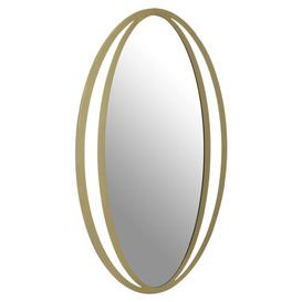 image-Dunwich Oval Wall Mirror, Gold Finish, Metal Frame Canora Grey