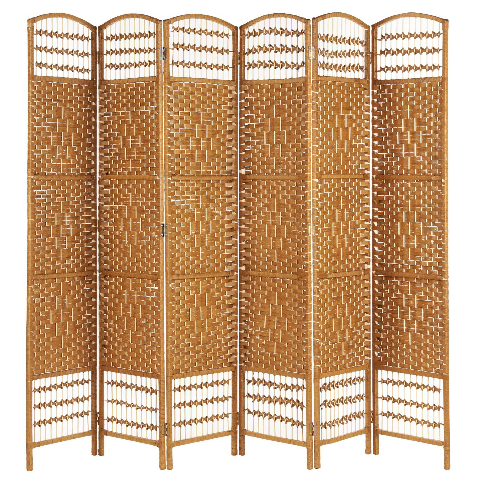 image-Hartleys Hand Made Wicker Room Divider - Natural - 6 Panel