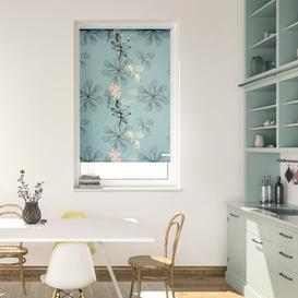 image-Aqua Floral Blackout Roller Blind Brayden Studio Size: 150 cm L x 45 cm W