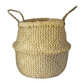 image-Medium Seagrass Chevron White Lined Basket Brown