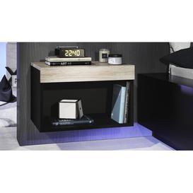 image-Pure Bedside Table Vladon Colour: Matte black/Rough oak, Lighting: With RGB LED