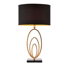 image-Jordan antique gold table lamp with black marble base and black and gold shade - 90775.