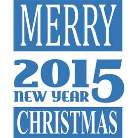 image-Merry Christmas, New Year Wall Sticker East Urban Home Colour: Light blue, Size: 30cm H x 37cm W