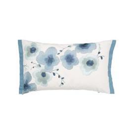 image-Sanderson Mandarin Flowers Cushion 50cm x 30cm, Turquoise