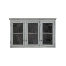image-Grey Acacia Wood Kitchen Wall Cabinet W80 Zinc