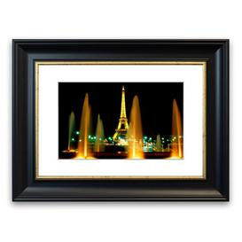 image-'Paris Eiffel Tower Water Fountain Glow' Framed Photograph East Urban Home Size: 30 cm H x 40 cm W, Frame Options: Matte Black