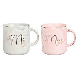 image-Tougo Set of 2 Mr and Mrs Couples Coffee Mug Set- Bridal Shower Engagement Wedding Anniversary Valentines,Best Gifts for Christmas and All Holiday,Pink and Grayes (Style C) - Like New