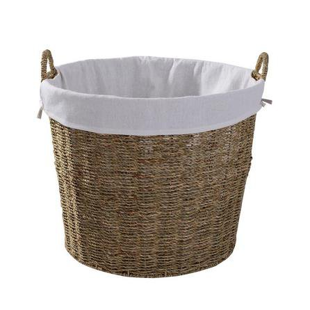 image-Round Seagrass Log Basket Natural