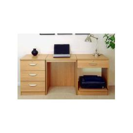 image-Small Office Desk Set With 3 Media Drawers, 1 Standard Drawer & Printer Shelf (Classic Oak)