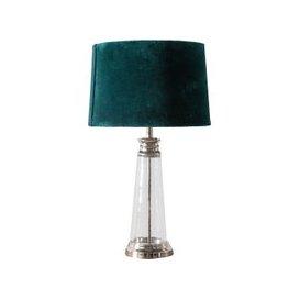image-Monique Velvet and Glass Table Lamp in Mallard Blue
