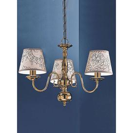 image-Delft 3-Light Shaded Chandelier Franklite Shade: Pleated Silk