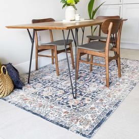 image-Blue Traditional Distressed Flat Low Pile Area Rug - Abella