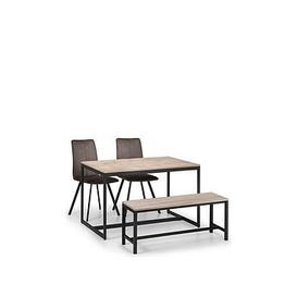 image-Julian Bowen Tribeca 120 Cm Dining Table + 2 Monroe Chairs + Bench