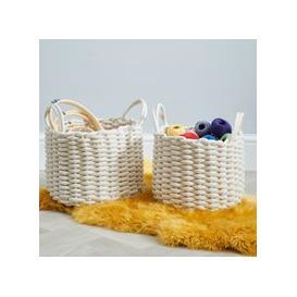 image-Set of 2 Round Knitted Cream Storage Baskets Off-White