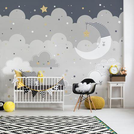 image-Floating Clouds Mural Grey
