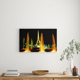 image-'Paris Eiffel Tower Water Fountain Glow' Photograph on Wrapped Canvas East Urban Home Size: 50.8 cm H x 81.3 cm W