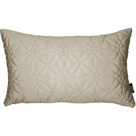 image-Rocco Round Quilted Ivory Silk Cushion, Polyester Filler / 50cm x 30cm