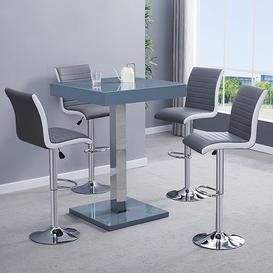 image-Topaz Glass Bar Table In Grey With 4 Ritz Grey White Stools