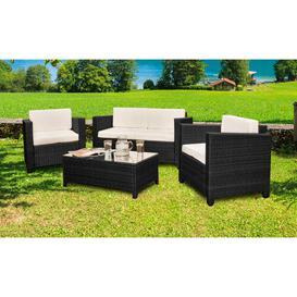 image-Karly 4 Seater Rattan Sofa Set Zipcode Design Colour: Black