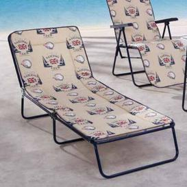 image-Chiemsee Lounge Chair with Cushion Sol 72 Outdoor Colour (Frame): Blue, Pad Colour: Beige pattern