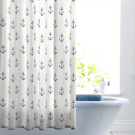 image-Anchor Shower Curtain White and Navy Blue