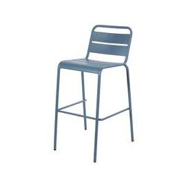 image-Blue Grey Metal Garden Bar Chair Batignolles