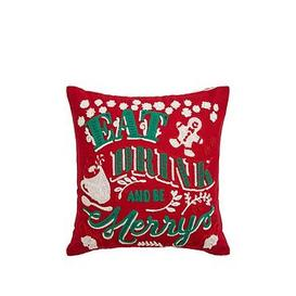 image-Cascade Home Eat, Drink And Be Merry Christmas Cushion