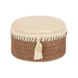 image-Beige and White Woven Jewellery Box