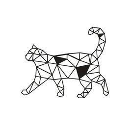 image-Walking Cat Geometric Metal Wall Décor Happy Larry