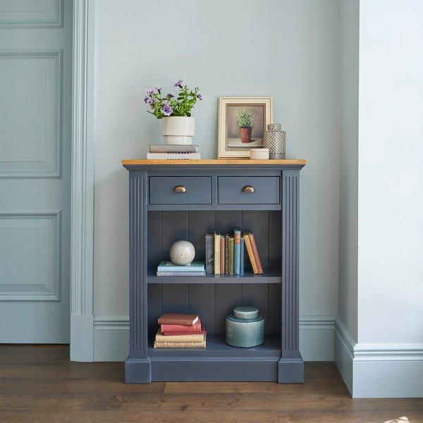image-Rustic Solid Oak and Painted Bookcases - Small Bookcase - Highgate Range - Oak Furnitureland