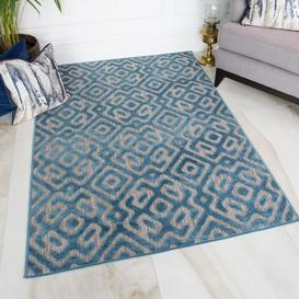 image-Geometric Teal Outdoor Runner Rug - Zen
