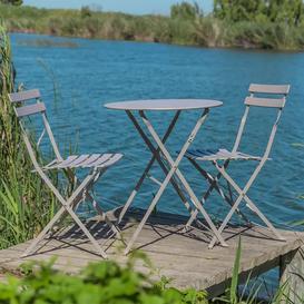 image-Royalcraft Metal Garden Furniture Padstow 2 Seater Folding Bistro Set in Grey Taupe
