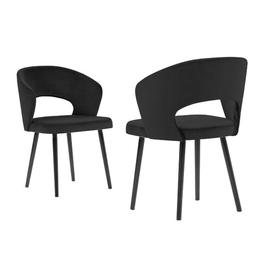 image-Adriana Upholstered Dining Chair BelleFierté Upholstery Colour: Black