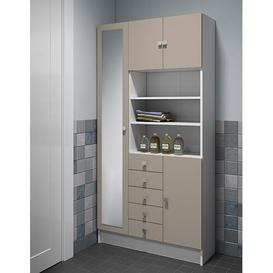 image-90 x 181.6 cm Free Standing Tall Bathroom Cabinet Mercury Row Finish: White/Taupe