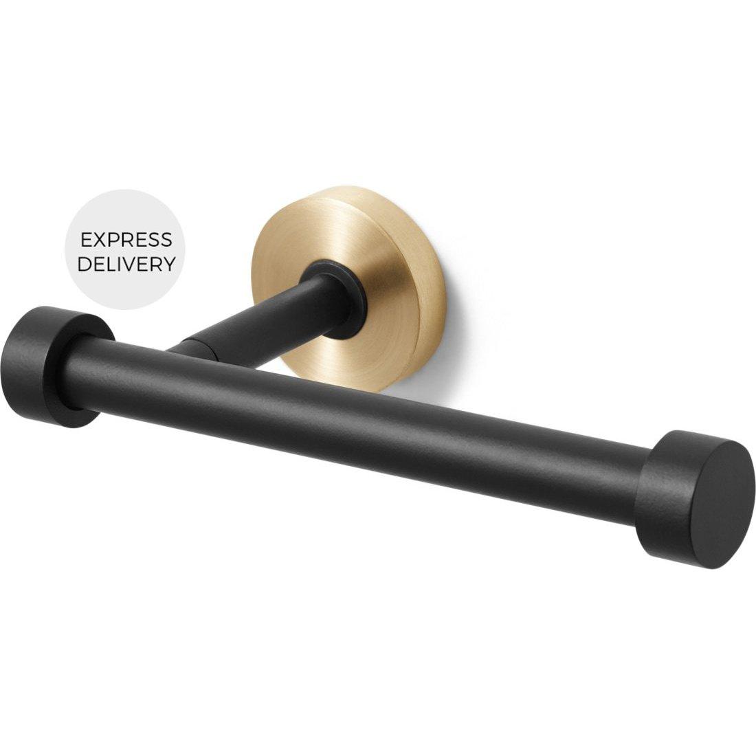 image-Zenia Toilet Roll Holder, Matt Black & Brushed Brass