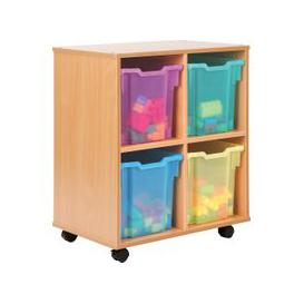 image-Allsorts 4 Cube Bookcase With 4 Jumbo Trays, Pink/Purple/Lime/Tangerine