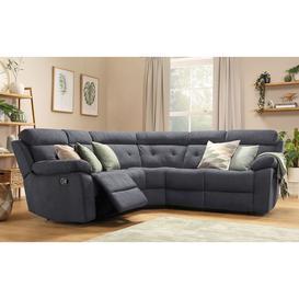 image-Grosvenor Slate Grey Plush Fabric Recliner Corner Sofa