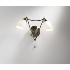 image-Dar BUR0975 Bureau Antique Brass 2 Light Wall Light