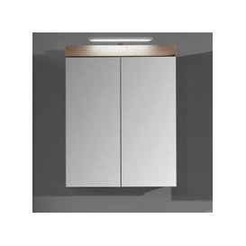 image-Amanda LED Mirrored Bathroom Cabinet In Knotty Oak