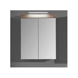 image-Amanda LED Mirrored Bathroom Cabinet In Knotty Oak