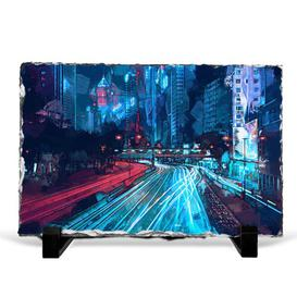image-Night Lights of Hong Kong in Abstract Decorative Slate
