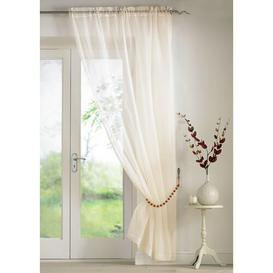 image-Troy Slot Top Panel Sheer Curtain (Set of 2) Marlow Home Co. Colour: Cream, Panel Size: 145 W x 137 D cm