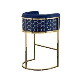 image-Alveare Bar Stool Brass - Royal Blue