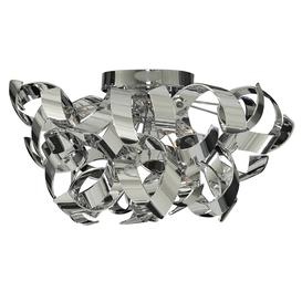 image-Searchlight 4973-3CC Curls Semi Flush Three Light Ceiling Light In Polished Chrome With Glass